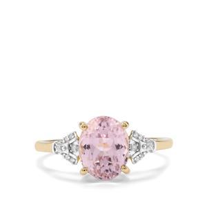 Mawi Kunzite & Diamond 10K Gold Ring ATGW 2.57cts