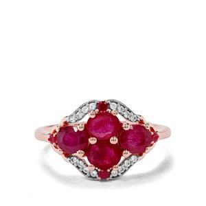 Sant, Malagasy Ruby & White Zircon 9K Rose Gold Ring ATGW 1.91cts