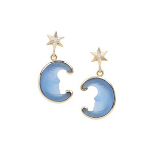 Lehrer Man in the Moon Blue Chalcedony Earrings with Diamond in 9K Gold 7.52cts
