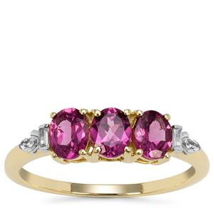 Comeria Garnet Ring with White Zircon in 9K Gold 1.35cts