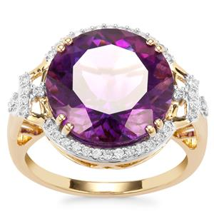 Moroccan Amethyst Ring with Diamond in 18K Gold 7.21cts
