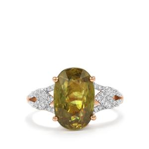 Ambilobe Sphene Ring with Diamond in 18K Rose Gold 6.31cts