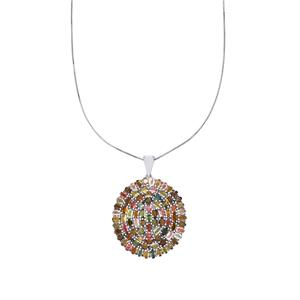 Rainbow Tourmaline Pendant Necklace in Platinum Plated Sterling Silver 18.13cts