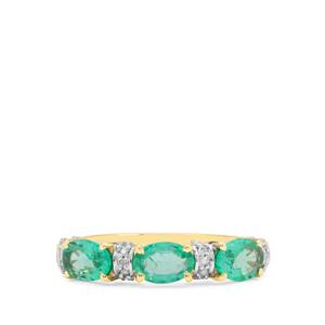 Ethiopian Emerald Ring with Diamond in 9K Gold 1.06cts