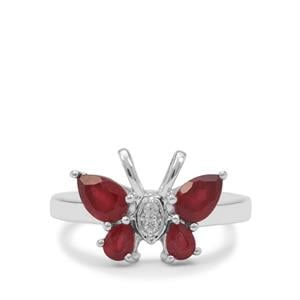 Malagasy Ruby & White Zircon Sterling Silver Ring ATGW 1.75cts (F)