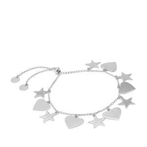 "10"" Sterling Silver Altro Diamond Cut Star Heart Slider Bracelet 6.46g"