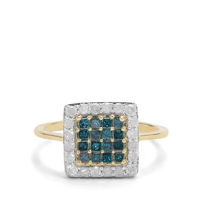 3/4ct Blue & White Diamond 9K Gold Ring