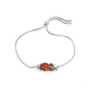 Baltic Cognac Amber Sterling Silver Slider Bracelet