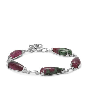 33.18ct Ruby-Zoisite Sterling Silver Bracelet