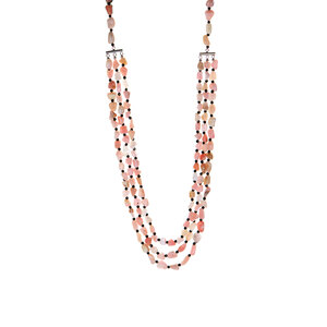 Peruvian Pink Opal & Black Spinel Sterling Silver 3 Strand Necklace ATGW 155.55cts