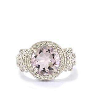 Rose De France Amethyst Ring with White Zircon in Sterling Silver 3.69cts