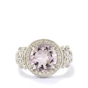 Rose De France Amethyst & White Zircon Sterling Silver Ring ATGW 3.69cts