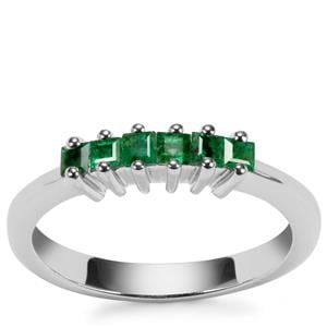 Luhlaza Emerald Ring in Sterling Silver 0.36ct