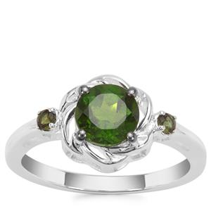 Chrome Diopside Ring with Green Tourmaline in Sterling Silver 1.29cts