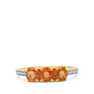 Mandarin Garnet Ring with Diamond in 9K Gold 1.55cts