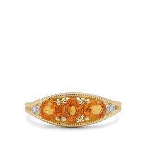 Tanzanian Sunset Sapphire & Diamond 9K Gold Ring ATGW 1.44cts