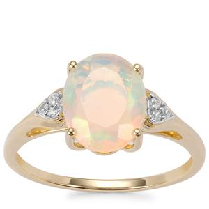 Ethiopian Opal Ring with Zircon in 9K Gold 1.53cts