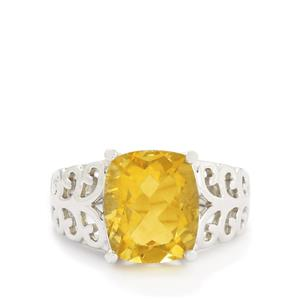 6.34ct Golden Fluorite Sterling Silver Ring
