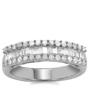 Diamond Ring in Sterling Silver 0.78ct
