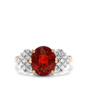Mandarin Garnet & Diamond 18K Gold Lorique Ring MTGW 4.53cts