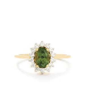 Mandrare Green Apatite & White Zircon 9K Gold Ring ATGW 1.36cts
