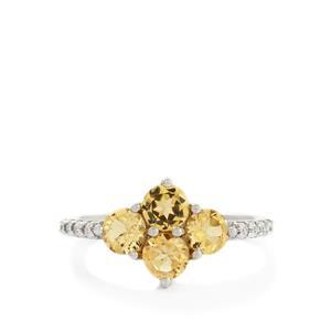Ouro Preto Imperial Topaz & White Zircon 10K White Gold Ring ATGW 1.66cts
