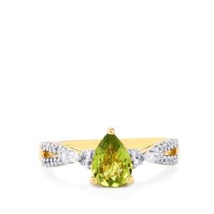Cuprian Tourmaline Ring with Diamond in 18K Gold 1.03cts