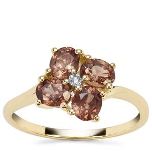 Tsivory Colour Change Garnet Ring with White Zircon in 9K Gold 1.68cts