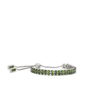 7.80ct Chrome Diopside Sterling Silver Slider Bracelet