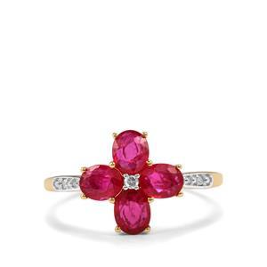 Montepuez Ruby & Diamond 10K Gold Ring ATGW 1.40cts