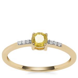 Yellow Diamond Ring with White Diamond in 9K Gold 0.36ct