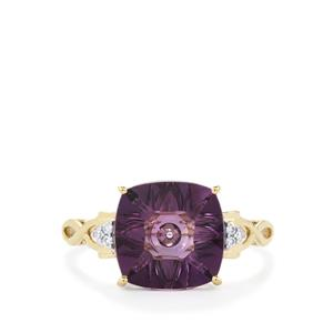 Lehrer QuasarCut Ametista Amethyst Ring with Diamond in 10K Gold 2.90cts