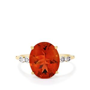 Tarocco Red Andesine Ring with Diamond in 10k Gold 3.37cts