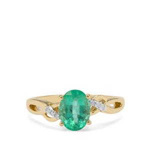 Ethiopian Emerald Ring with Diamond in 9K Gold 1.15cts
