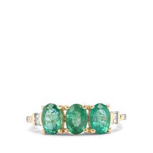 Zambian Emerald & White Zircon 9K Gold Ring ATGW 2.23cts