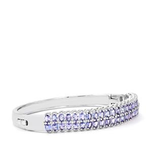 Tanzanite Oval Bangle with White Zircon in Sterling Silver 7.29cts