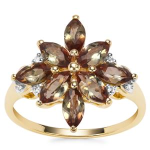 Sopa Andalusite Ring with Diamond in 9K Gold 1.79cts