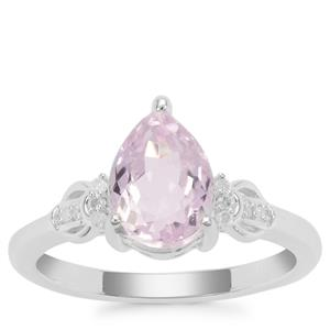 Brazilian Kunzite Ring with Diamond in Sterling Silver 2.56cts