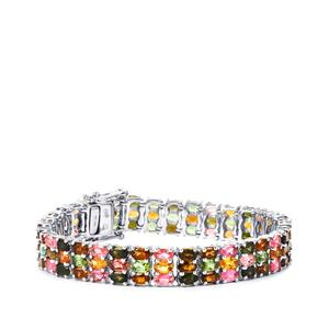 25.50ct Rainbow Tourmaline Sterling Silver Bracelet