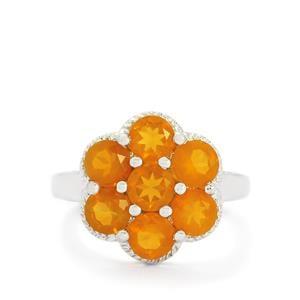 2.36ct AA Orange American Fire Opal Sterling Silver Ring