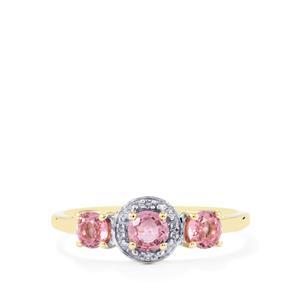 Sakaraha Pink Sapphire Ring with Diamond in 9K Gold 0.91ct