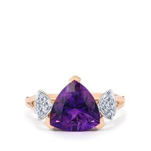 Moroccan Amethyst & Diamond 14K Rose Gold Ring ATGW 2.99cts