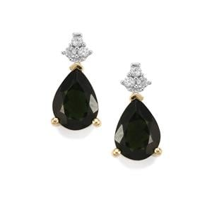 Chrome Tourmaline Earrings with White Zircon in 9K Gold 1.25cts