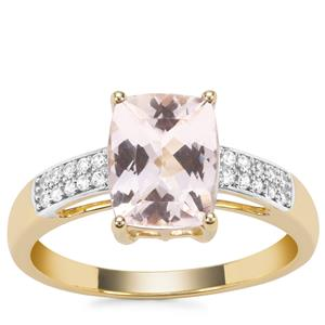 Nigerian Morganite Ring with White Zircon in 9K Gold 1.97cts