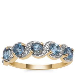 Nigerian Aquamarine Ring with White Zircon in 9k Gold 0.95ct