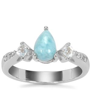 Larimar, Sky Blue Topaz Ring with White Zircon in Sterling Silver 1.26cts