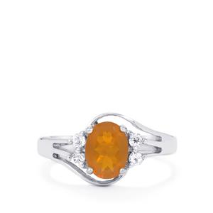 Orange American Fire Opal Ring with White Topaz in Sterling Silver 1.06cts