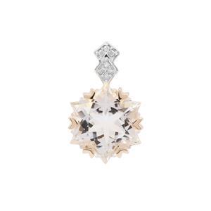 Wobito Snowflake Cut Itinga Petalite & Diamond 9K Gold Pendant ATGW 3.76cts