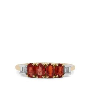 Winza Ruby Ring with White Zircon in 9K Gold 1.40cts
