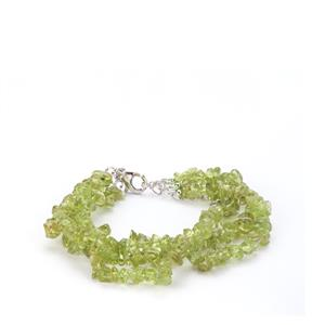 114.10ct Changbai Peridot Sterling Silver Bead Bracelet